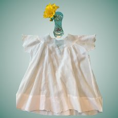 Circa 1920s- 30s Embroidered White and Pink Hanky Cotton Baby Dress