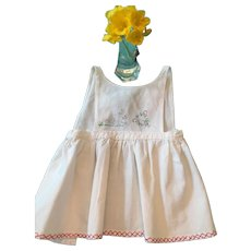 Circa 1950s White Cotton Baby Apron with Bunny Embellishment