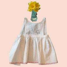 Circa 1950s White Cotton Baby Apron with Bunny Embellishment