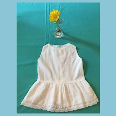 Circa 1950s- 60s White Cotton Doll Slip with a Lace Skirt
