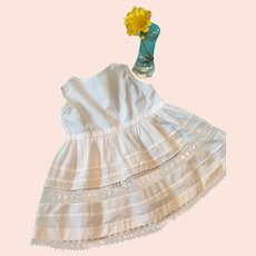 Circa 1930s- 40s White Hanky Cotton Baby/Doll Sundress with Tatting