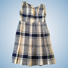 Circa 1950s Seamstress-Made Pleated White and Blue Plaid Woven Doll Jumper