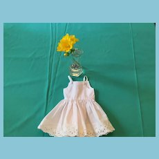 Circa 1950s Seamstress-made White Cotton Eyelet-Lace Trimmed Slip