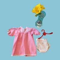 Circa 1950s Pink Satin Dolly Dress and Cotton Underpants