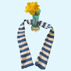 Blue and White Woolen Dolly Scarf