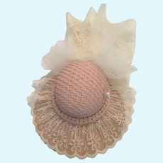 Elegant Lace Embellished Dusty Rose Dolly Straw Bonnet