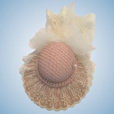 Elegant Lace Embellished Dusty Rose Dolly Straw Bonnet