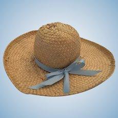 Dolly Straw Bonnet with a Blue Ribbon Headband