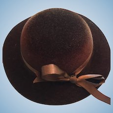 Chocolate Brown Felt Brimmed Hat for Dolly