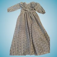 Seamstress-made 1960s White and Blue Cotton Grannie Gown