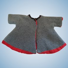 Seamstress-made 1950s Blue Wool Doll's Coat with Red Lining