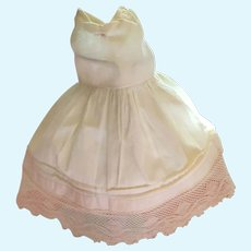 Seamstress-Made 1940s Sleeveless Ecru Colored Cotton Doll Dress