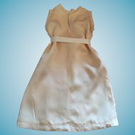 Seamstress-Made 1950s Peach-colored Slipper Satin Gown for Dolly
