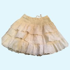 Seamstress-Made 1960s Eyelet Cotton Ruffled Crinoline for your Large Dolly