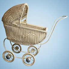 Delightful South Bend Toy Company White Wicker Doll Stroller.