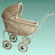 South Bend Toy Company Wicker Doll Stroller.