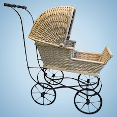 Delightful Reinecke Milwaukee Wis #49 White Wicker Baby Buggy