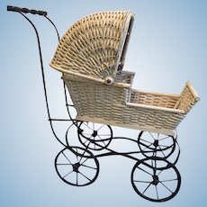 Delightful Reinecke Milwaukee Wis #49 White Wicker Baby Buggy