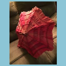 """Lovely Vintage Red Ruffled 24"""" Parasol on a Carved Wooden Handle"""