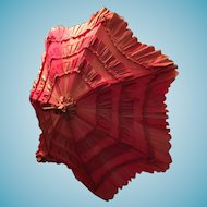 "Lovely Vintage Red Ruffled 24"" Parasol on a Carved Wooden Handle"