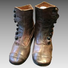 Victorian Era Child's Seven Button Brown Leather Boots