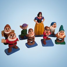 Snow White and Seven Dwarfs Hand-Painted Miniature Pewter Figurines