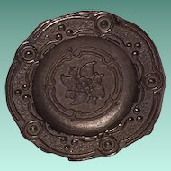 """Set of Four 1"""" Miniature Embossed 'Pewter' Dinner Plates with Sculpted Rims"""