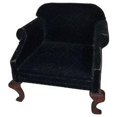 Vintage Forest Green Velvet Upholstered Stuffed Living Room Chair
