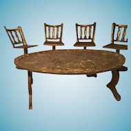 Five Piece Miniature Embossed Indian  Brass Table and Four Pedestal Chairs