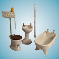 Miniature Three Piece Porcelain Claw Foot Bathtub, High Tank Toilet, and Pedestal Sink