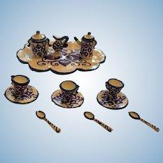 Elegant Miniature  'Flow Blue' Style Coffee Service for Three