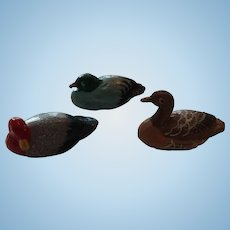 Set of Three Colorful Miniature Duck Decoys
