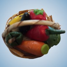 Woven Basket of Miniature Colorful Fruits and Vegetables
