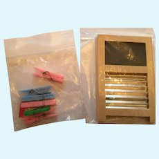 Miniature Laundry Room Washboard/Blackboard and Clothes Pins