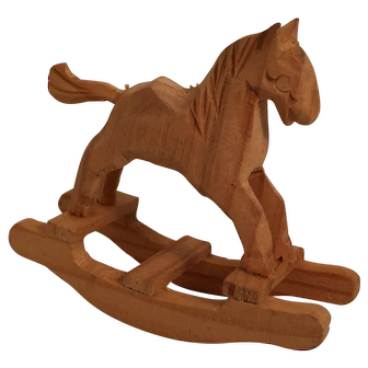 Unpainted Carved Miniature Rocking Horse