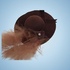 Miniature Brown Felt Ladies' Hat and Stand