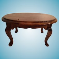 Miniature Wooden Coffee Table with Queen Anne legs