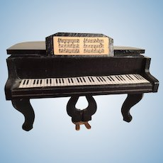 Miniature 'Steinway' Baby Black Grand Piano and Piano Stool