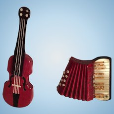 Two Doll House Vintage Miniature Musical Instruments - Violin and Accordion