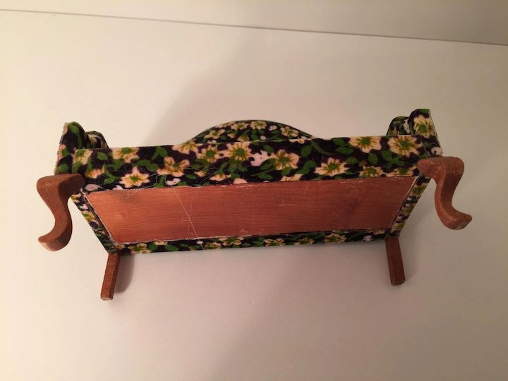 Flowered Green Upholstered Queen Anne Sofa
