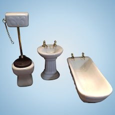 Sweet Vintage Three Piece Porcelain Bathroom Set