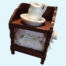 Vintage Wooden Wash Stand with a White Porcelain Jug and Bowl