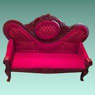 Carved 'Cherry Wood' Frame Red Velvet Portrait Sofa
