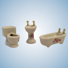 Circa 1970s - 80s Miniature Three Piece Porcelain Bathroom Set