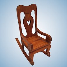 1960s - 70s Hand-Carved Bavarian-Style Nursing Rocking Chair