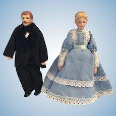 Circa 1970s - 80s Victorian-Style Porcelain Dollhouse Couple