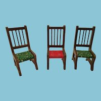 circa 1960s - 70s Set of Three Eastern-Style Carved Wooden Chairs