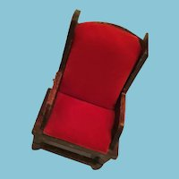 1950s - 60s Hand-Carved High Back Chair with Red Cushions