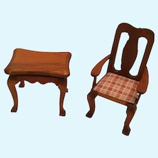 Circa 1950s - 60s Two Piece Doll House Arm Chair and Side-table Set