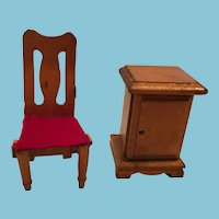 Circa 1950s - 60s Wooden Doll House Telephone Table and Chair